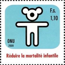 Timbre: Genève - Réduire la mortalité infantile - Ours