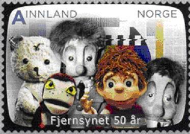 Timbre: 50 ans de télévision - Ours et marionnettes
