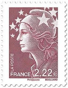 Timbre: Type Marianne de Beaujard - Marianne et l'Europe