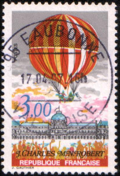 Timbre: Ballon à hydrogène par J.Charles et M.N.Robert