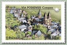 Timbre:  St-Jacques-de-Compostelle :Via Podiensis - Conques