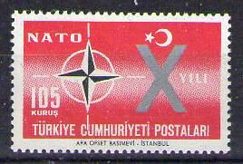 Timbre: 10e anniversaire de l'OTAN