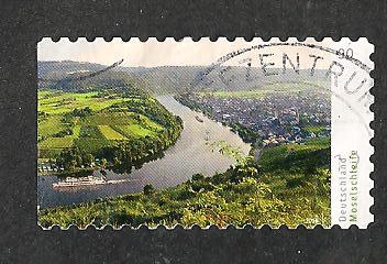 timbre: Le cours de la Moselle-Adhésif OR non dentelé à gauche