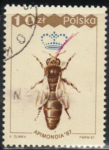 Timbre: ''Apimondia'87''.Congrès international des apiculteurs