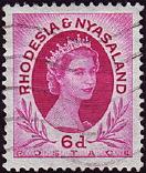 timbre: Rhodésie et Nyassaland  EIisabeth II