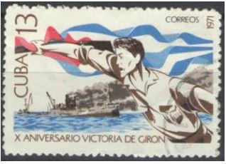 timbre: 10e anniv. de la victoire de Plata Giron