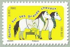 Timbre: Dictons - Monter sur ses grands chevaux