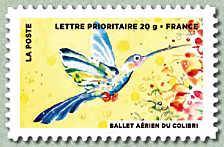Timbre: Le timbre fête l'air : Ballet du colibri (1)