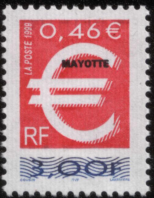 Timbre:  rsv an Symbole de l'euro (rouge et bleu) surchargé