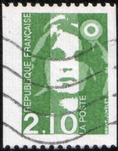 timbre: Marianne du Bicentenaire (vert) roulette