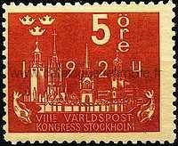 Timbre: 8ème congrès de l'U.P.U.,à Stockholm