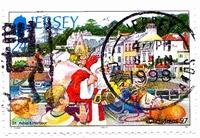 timbre: Père Noël au port de Saint Aubin