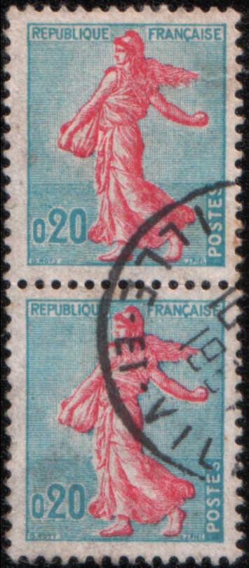 timbre: Paire la semeuse de Piel d'après Roty