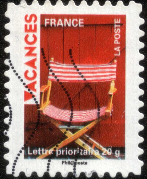 Timbre: Vacances, fauteuil en toile