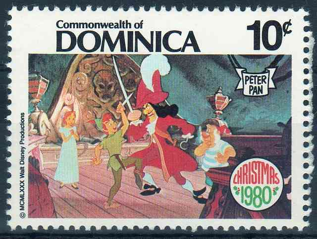 Timbre: Noel. Peter Pan. avec les personnages de Walt Disney
