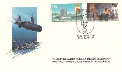 Timbre: 75ans forces sous-marines 1917-1992 - PJ