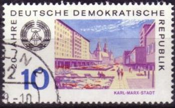 Timbre: 20 ans RDA : Karl Marx-Stadt