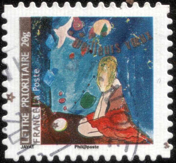 Timbre: Femme en robe rouge observant les étoiles, colombe