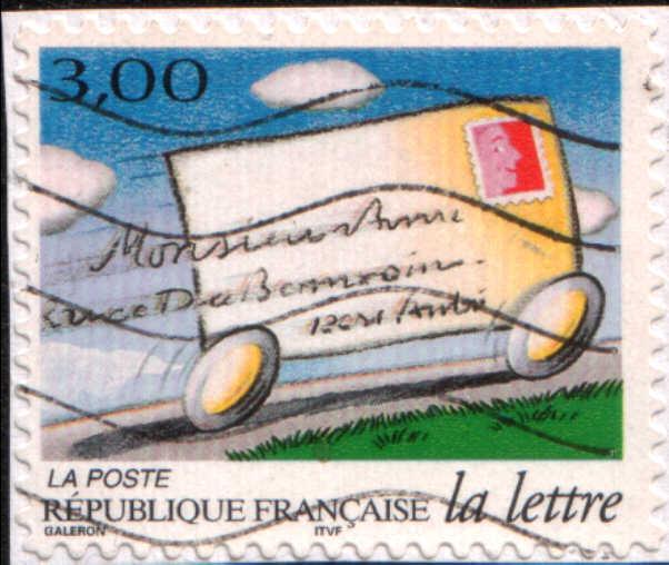 timbre: La lettre : pli roulant à toute vitesse (sur fragment)