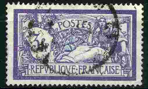 Timbre: Merson 3f violet et bleu