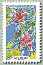 Timbre: Fleurs: Lys rouge