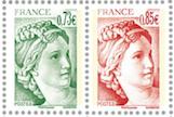 Timbre: 40 ans de Sabine de Gadon (la paire horizontale)