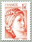 Timbre: 40 ans de la Sabine de Gandon Sabine 1 euro rouge