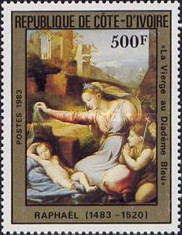 Timbre: La vierge au diadème bleu, par Raphael