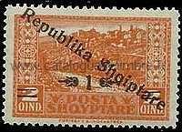 timbre: TP de 1922 surchargés République albanaise