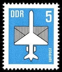 timbre: Avion stylisé et lettre