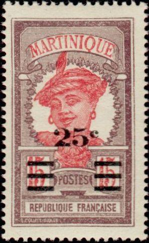 timbre: Martiniquaise 25c., sur 15c. violet-brun et rose