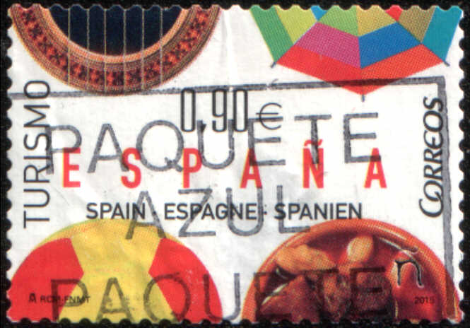 Timbre: Tourisme, banjo, parasol, ballon, gastronomie ABIMÉ