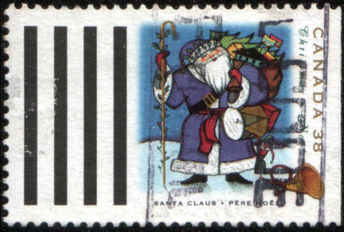 Timbre: Santa Claus-Père Noël avec hotte, cor postal, 4 barres