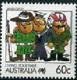 Timbre:  Vie en Australie par les BD - Forces armées