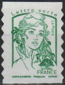 Timbre: Marianne verte adhésive  (1ex) vague