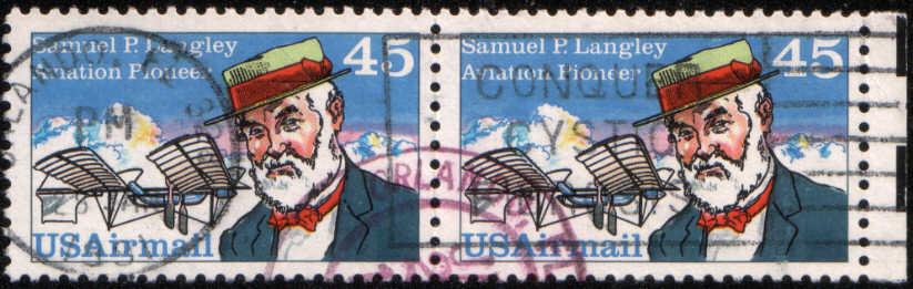 Timbre: Paire Samuel P. Langley et appareil 1896
