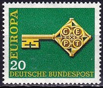 Timbre: Europa Allemagne 1968 - 20 %