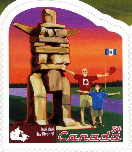 timbre: Inukshuk, Hay River, Territoires du Nord-Ouest, adhésif