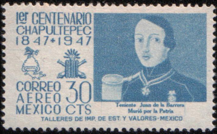 timbre: Centenaire bataille de Chapultepec, Juan de la Barrera