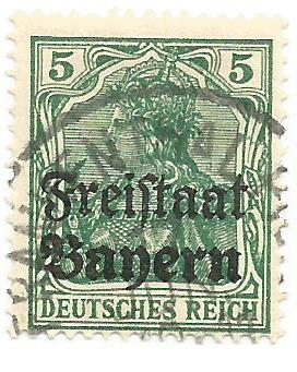 timbre: Bavière avec surcharge Freistaat Bayern