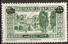 timbre: Grand Liban surchargé 12P sur 1P25