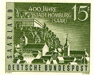 Timbre: 4° centenaire de la ville de Hombourg