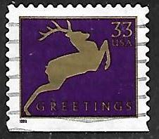 timbre: Timbre de voeux, silhouette de cerf - petit format