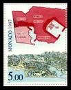 timbre: Carte du 15° et 19° s. et suite du dessin de la côte.