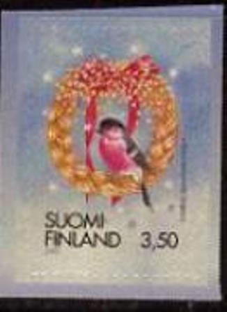 timbre: Bouvreuil dans une couronne format 49 X 35