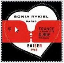 timbre: Coeur Sonia Rykiel 0,80 avec contour