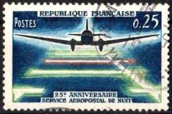 Timbre: 22eme Anniversaire du Service Aéropostal