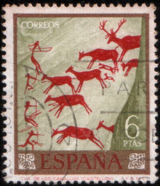 Timbre: Peintures rupestres, chasse aux cerfs de Los Caballos