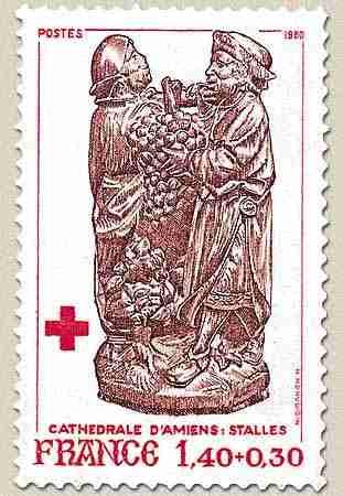 Timbre: Le raisin de la terre promise - Croix-Rouge.