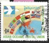 Timbre: Emblème, drapeau et carte de Aopu